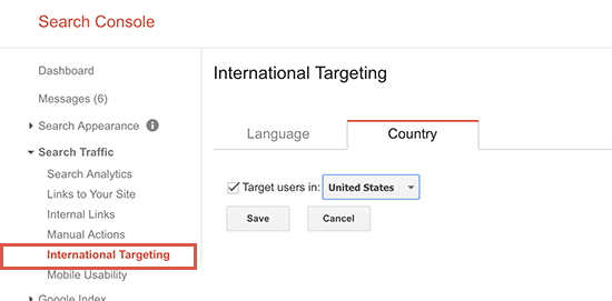 مشخص کردن کشور هدف