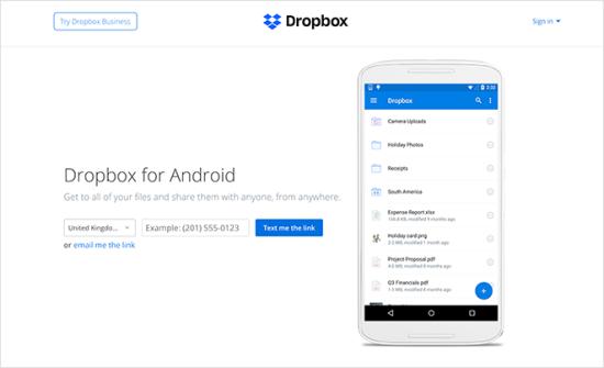 Dropbox نمونه لندینگ پیج