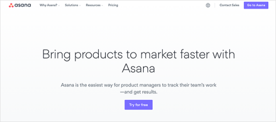 Asana نمونه لندینگ پیج