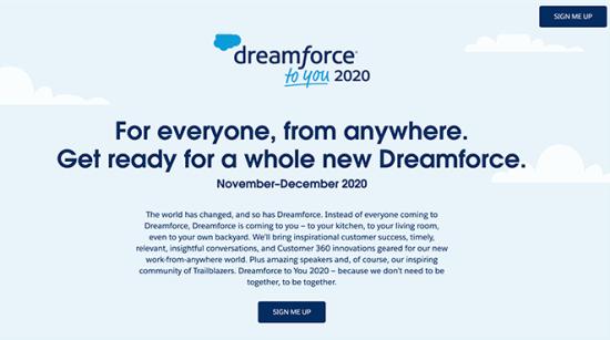 Dreamforce صفحه فرود ثبت رویداد