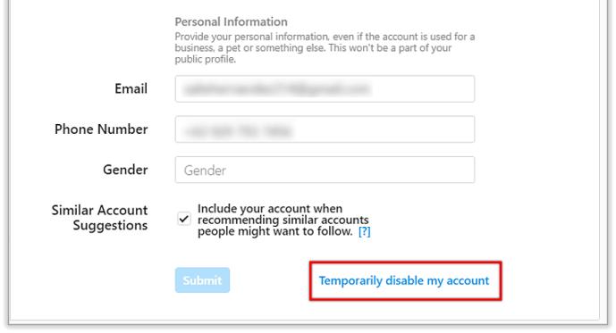 انتخاب گزینه Temporarily disable my account