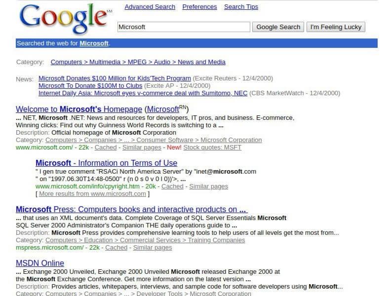 شکل اولیه گوگل بدون گوگل ادز